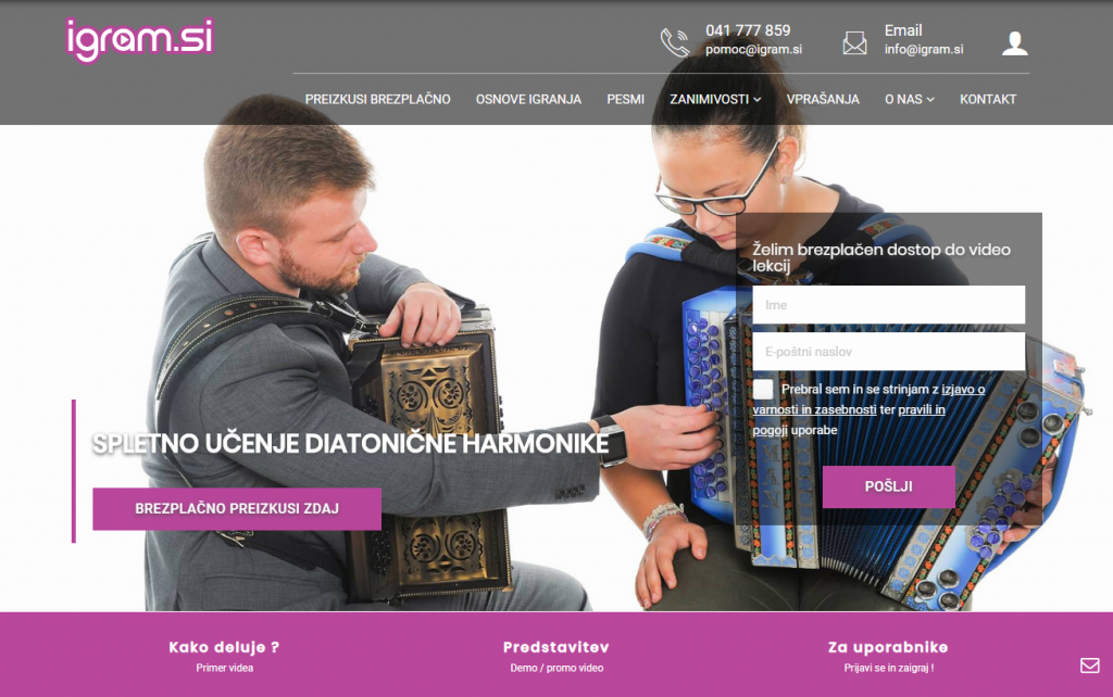 Spletno učenje harmonike