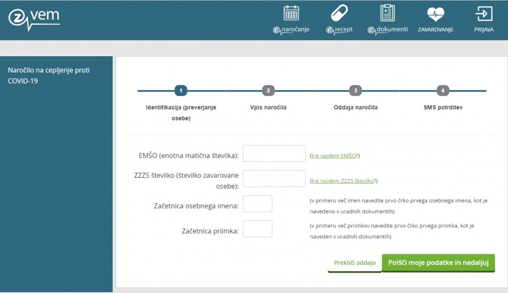 Spletna stran za naročanje na cepljenje proti COVID-19
